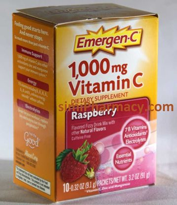 Emergen-C Raspberry 1,000 mg Vitamin C Flavored Fizzy Drink Mix, 10 count, 0.32 oz