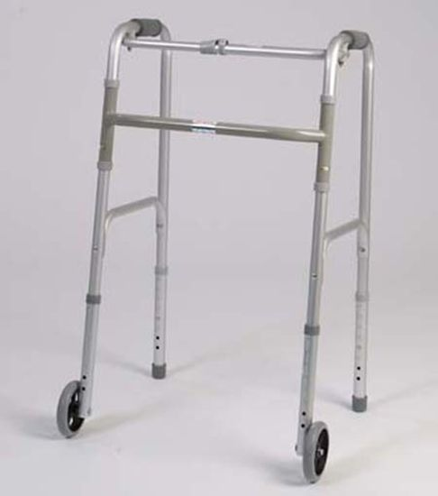 Single Button Folding Walker With Wheels